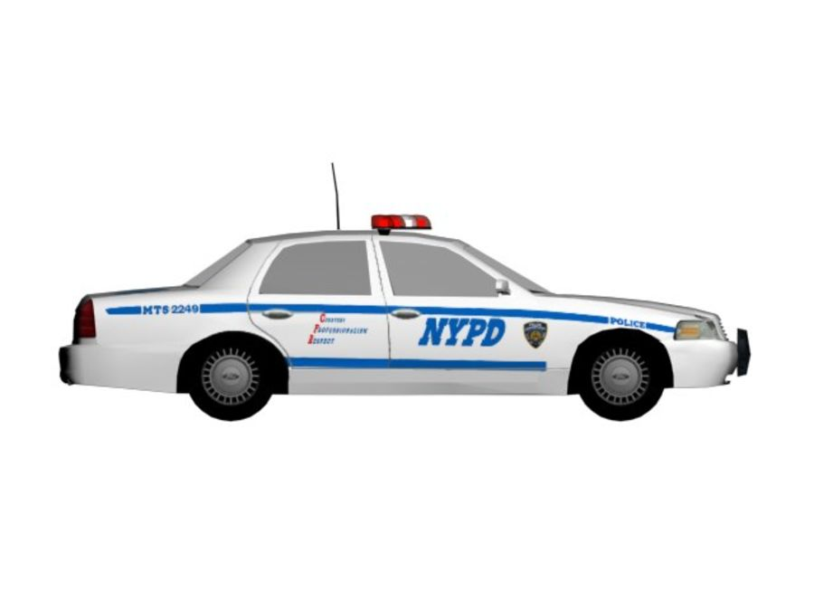 NYPD Squad Car Rigged royalty-free 3d model - Preview no. 2