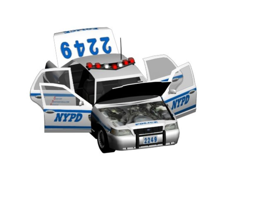 NYPD Squad Car Rigged royalty-free 3d model - Preview no. 5