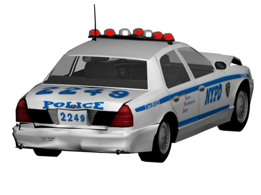 NYPD Squad Car Rigged royalty-free 3d model - Preview no. 4