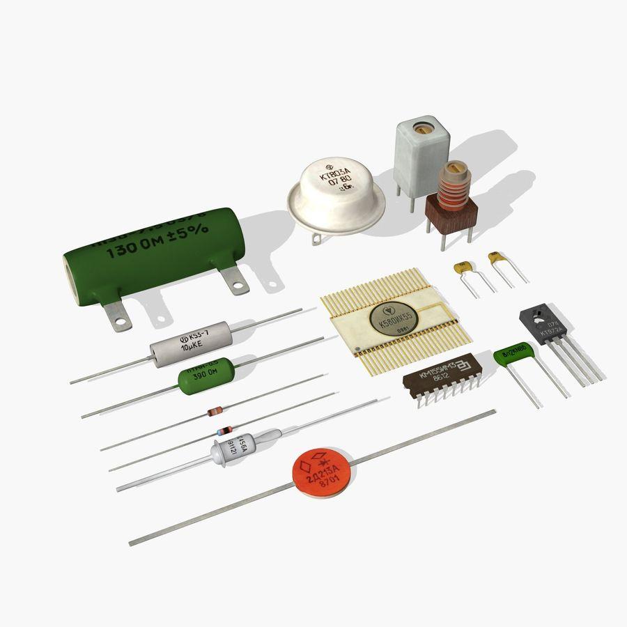 Componentes electrónicos antiguos royalty-free modelo 3d - Preview no. 1