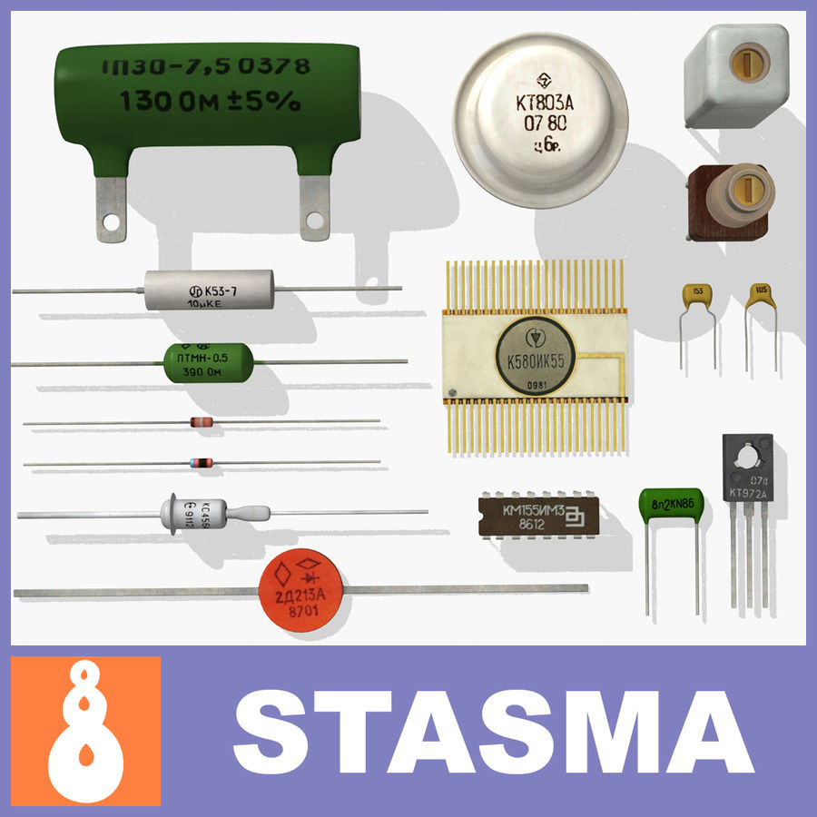 Vintage electronics components royalty-free 3d model - Preview no. 1