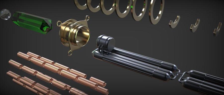 Quigon Jinn Lightsaber royalty-free 3d model - Preview no. 37