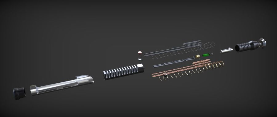 Quigon Jinn Lightsaber royalty-free 3d model - Preview no. 34