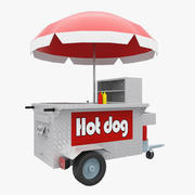New York Hot Dog Shop Stand 3d model