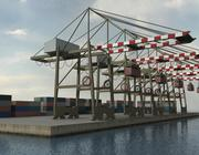 Port Crane and Containers 3d model
