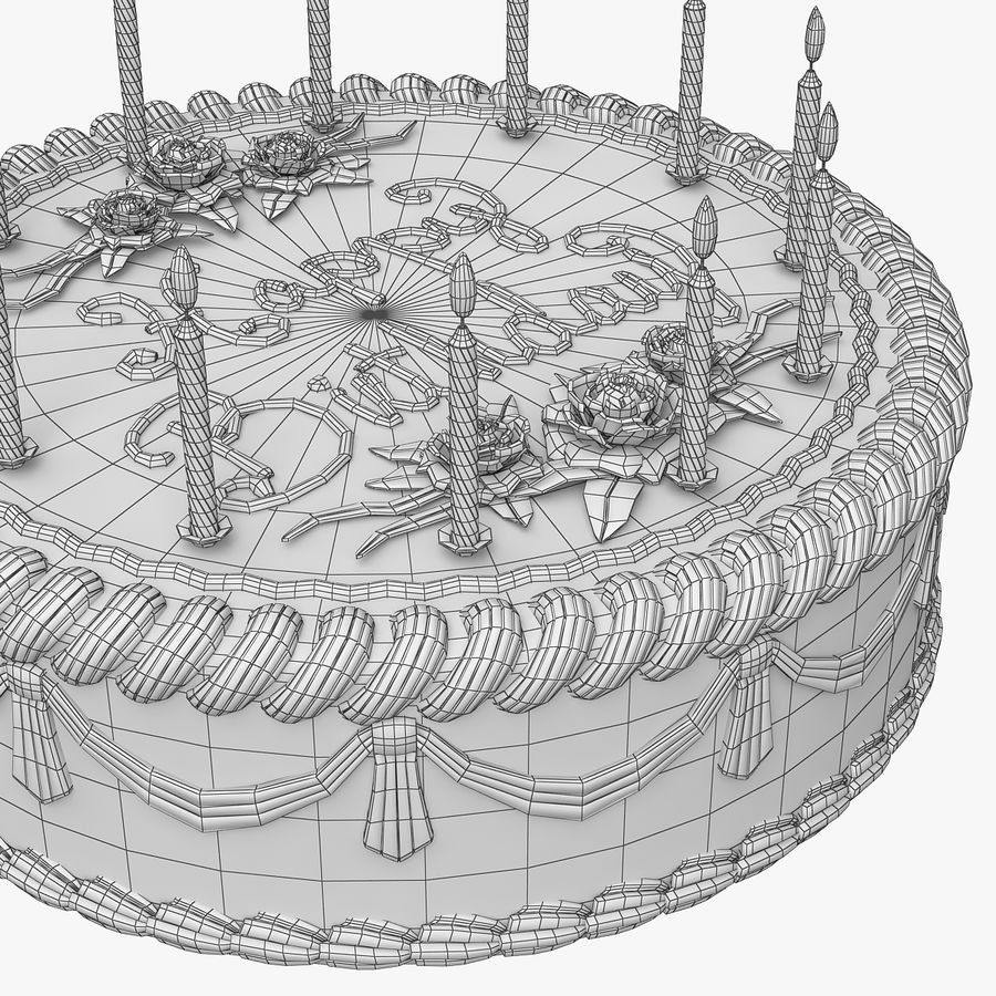 Happy Birthday Cake royalty-free 3d model - Preview no. 11