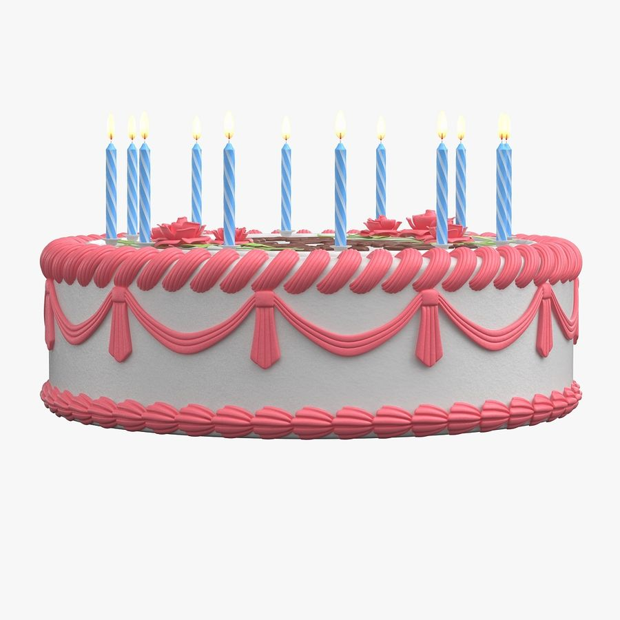 Happy Birthday Cake royalty-free 3d model - Preview no. 4