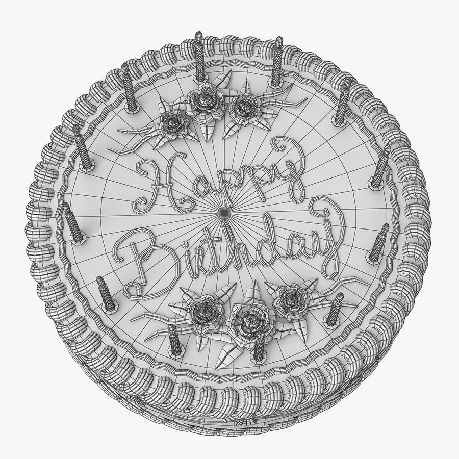 Happy Birthday Cake royalty-free 3d model - Preview no. 9