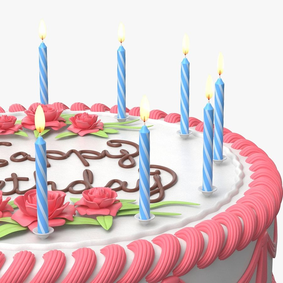 Happy Birthday Cake royalty-free 3d model - Preview no. 7