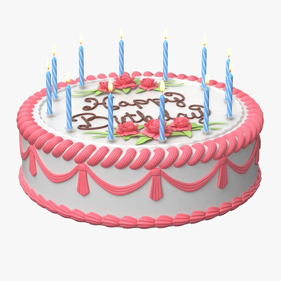 Happy Birthday Cake royalty-free 3d model - Preview no. 3