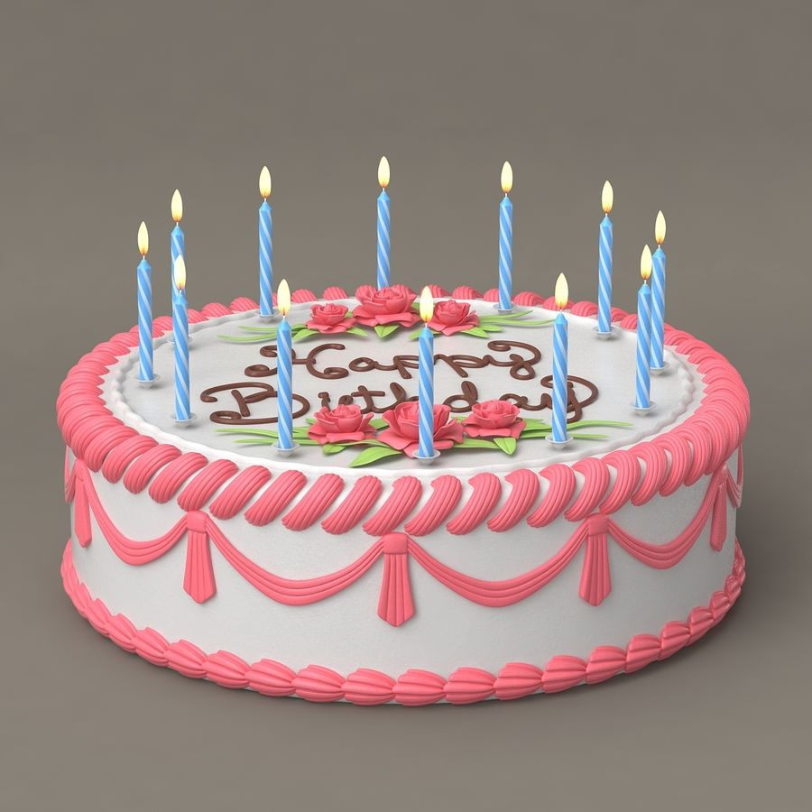 Happy Birthday Cake royalty-free 3d model - Preview no. 8