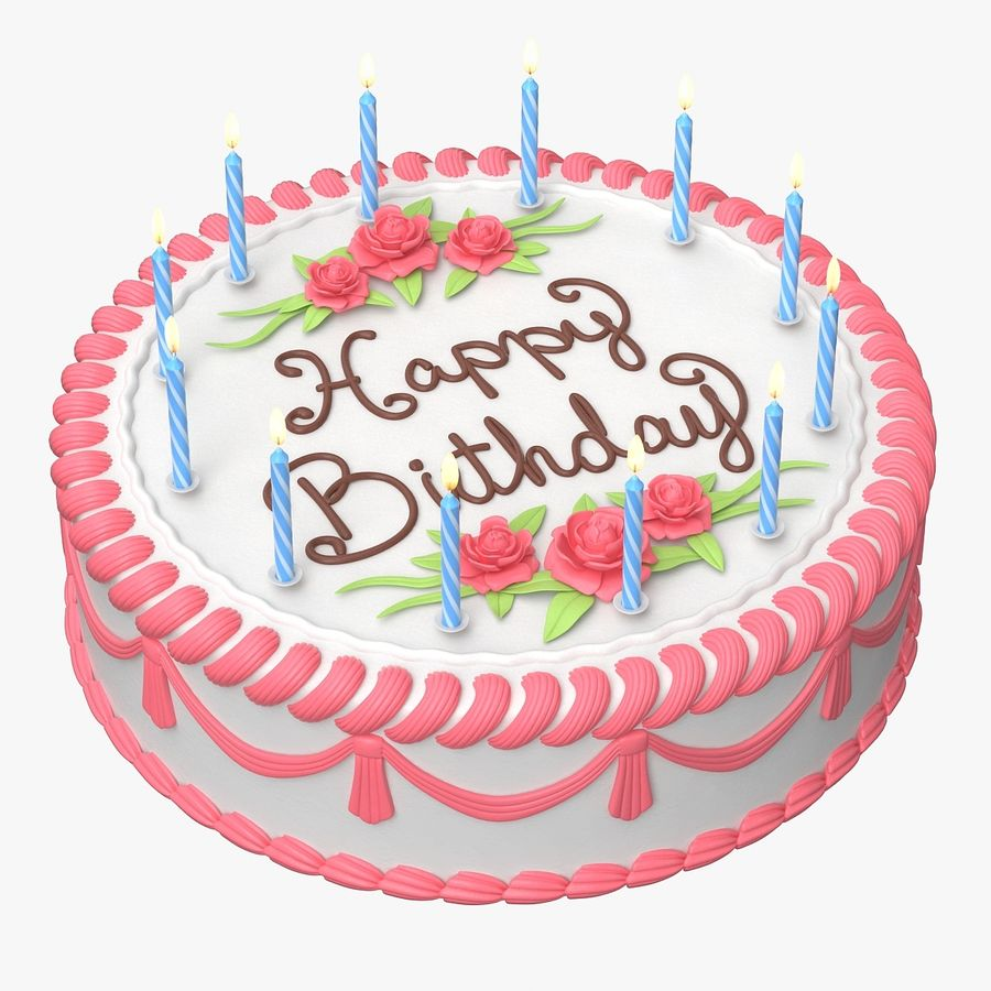 Happy Birthday Cake royalty-free 3d model - Preview no. 2
