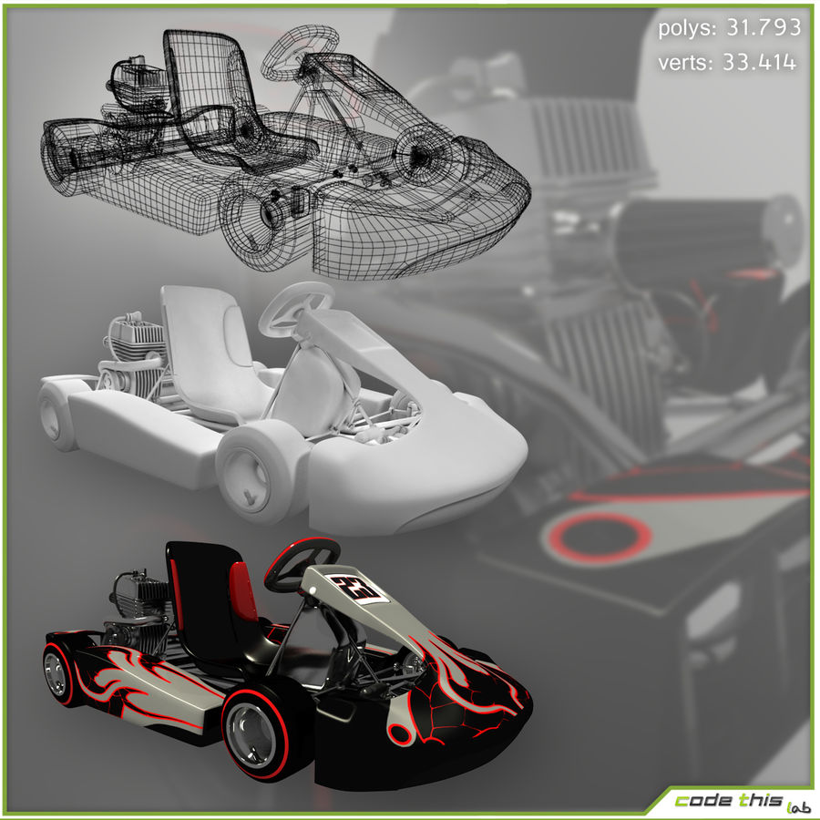 Go Kart 3D royalty-free 3d model - Preview no. 1