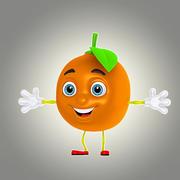 卡通橙色 3d model