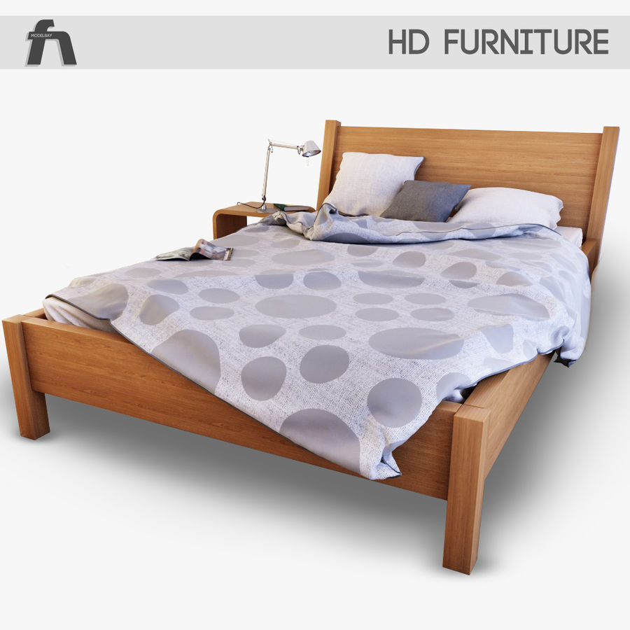 Detailed Bed with sheets royalty-free 3d model - Preview no. 2
