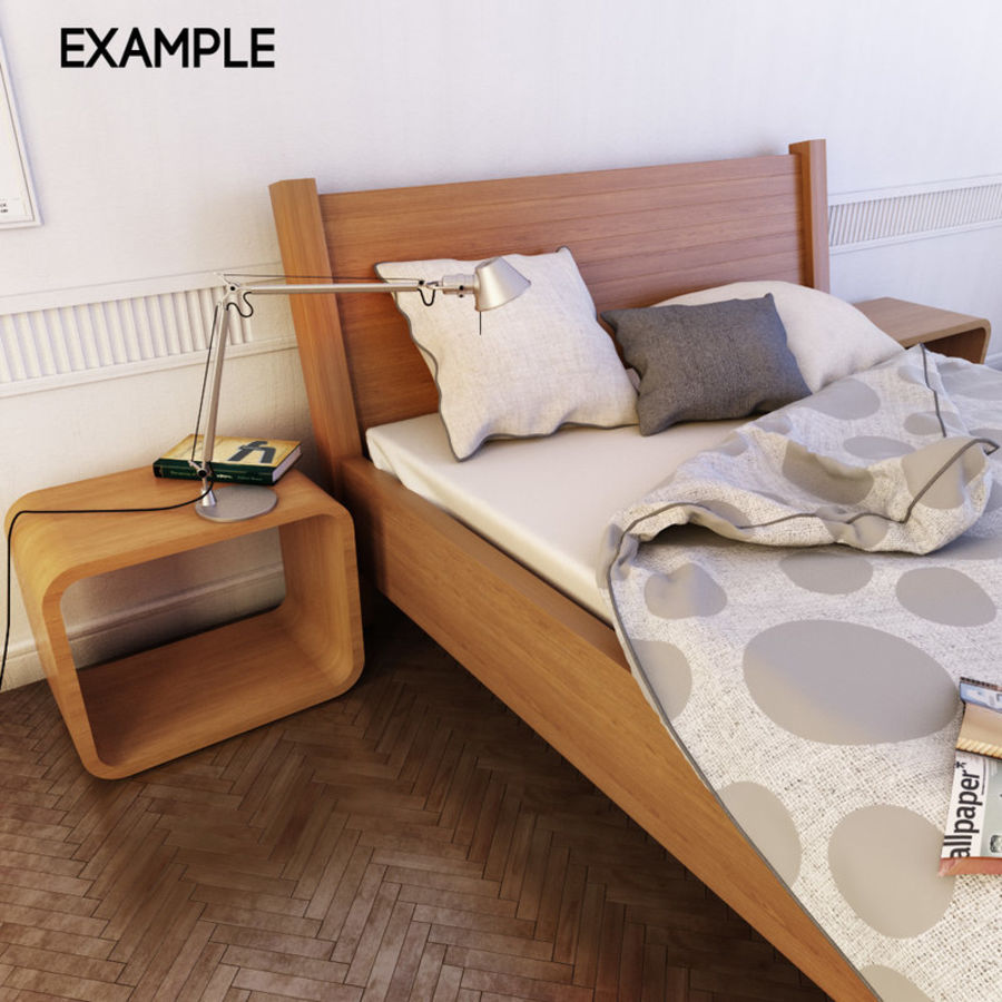 Detailed Bed with sheets royalty-free 3d model - Preview no. 1