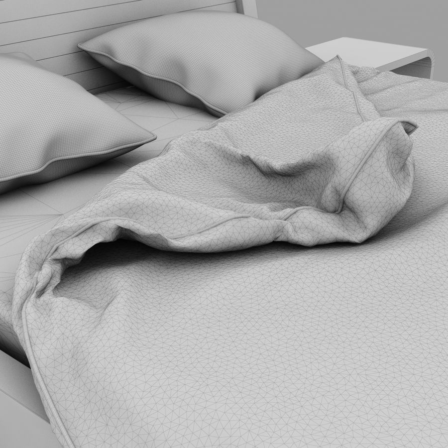 Detailed Bed with sheets royalty-free 3d model - Preview no. 7