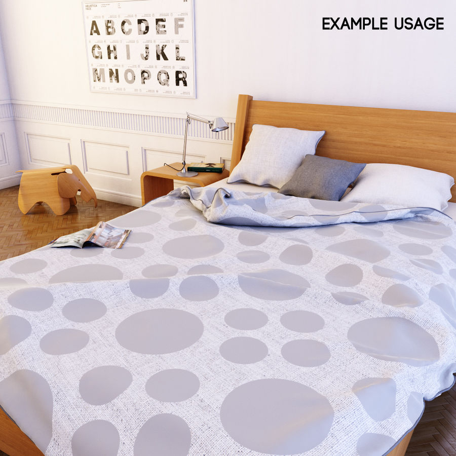 Detailed Bed with sheets royalty-free 3d model - Preview no. 3
