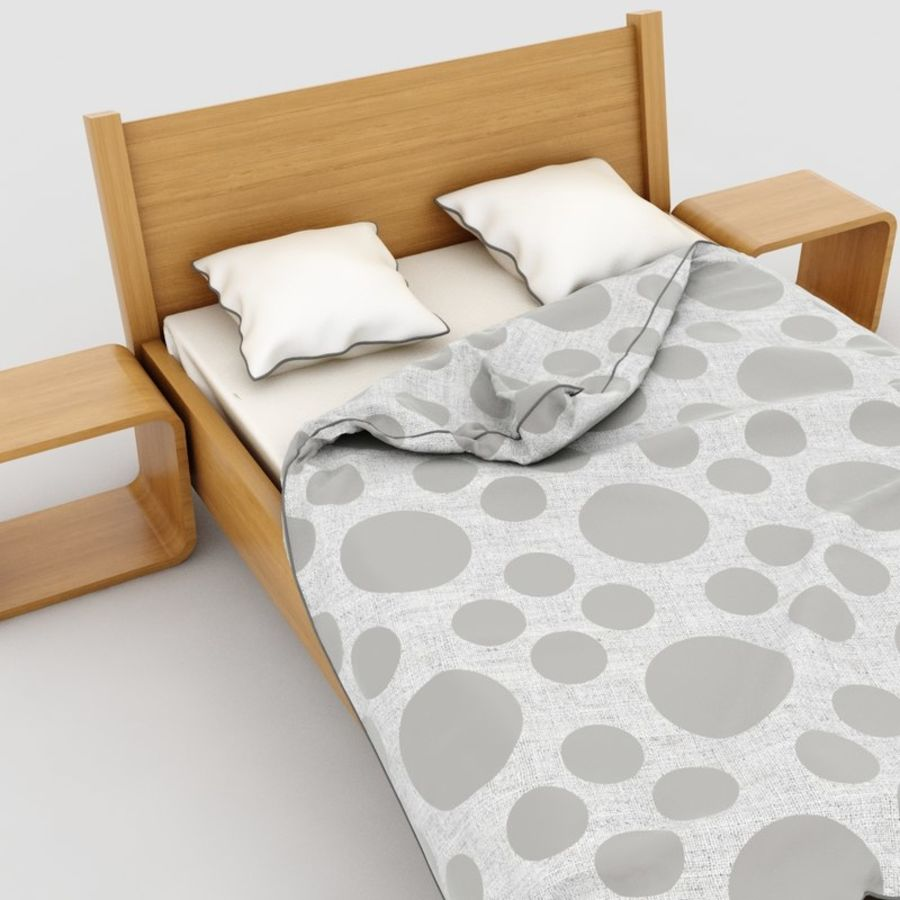 Detailed Bed with sheets royalty-free 3d model - Preview no. 5