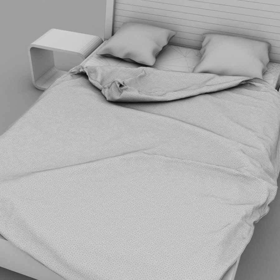 Detailed Bed with sheets royalty-free 3d model - Preview no. 6