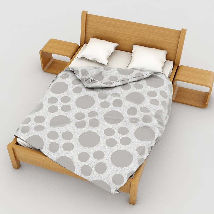 Detailed Bed with sheets royalty-free 3d model - Preview no. 4