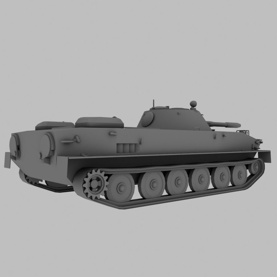 PT-76 Soviet Amphibious Tank Game royalty-free 3d model - Preview no. 8