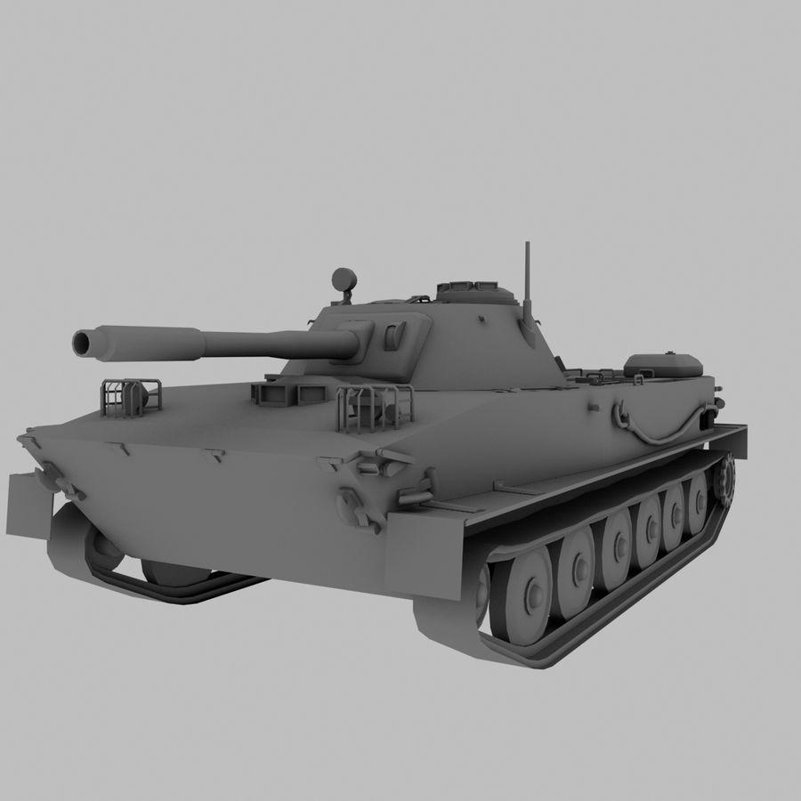 PT-76 Soviet Amphibious Tank Game royalty-free 3d model - Preview no. 1