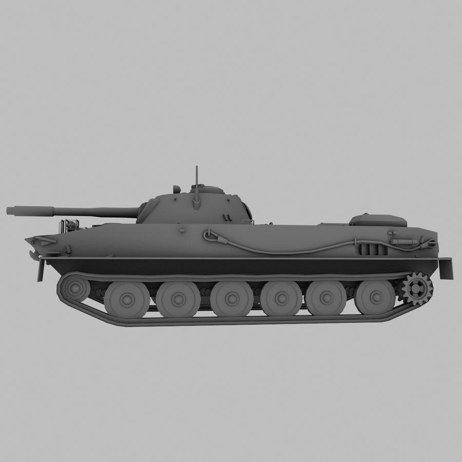 PT-76 Soviet Amphibious Tank Game royalty-free 3d model - Preview no. 3
