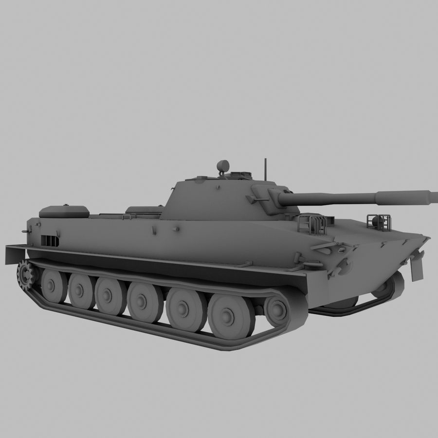 PT-76 Soviet Amphibious Tank Game royalty-free 3d model - Preview no. 9
