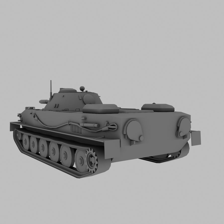 PT-76 Soviet Amphibious Tank Game royalty-free 3d model - Preview no. 5