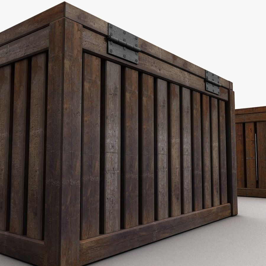 Wooden Trunk Crate Chest royalty-free 3d model - Preview no. 9