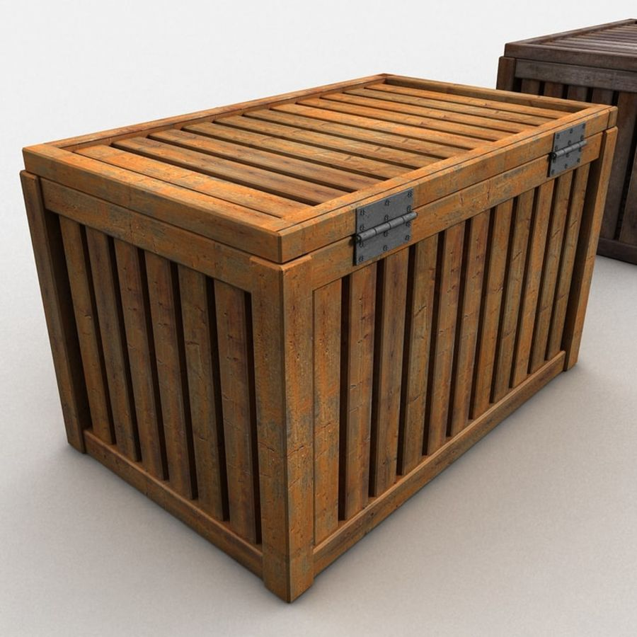 Wooden Trunk Crate Chest royalty-free 3d model - Preview no. 8