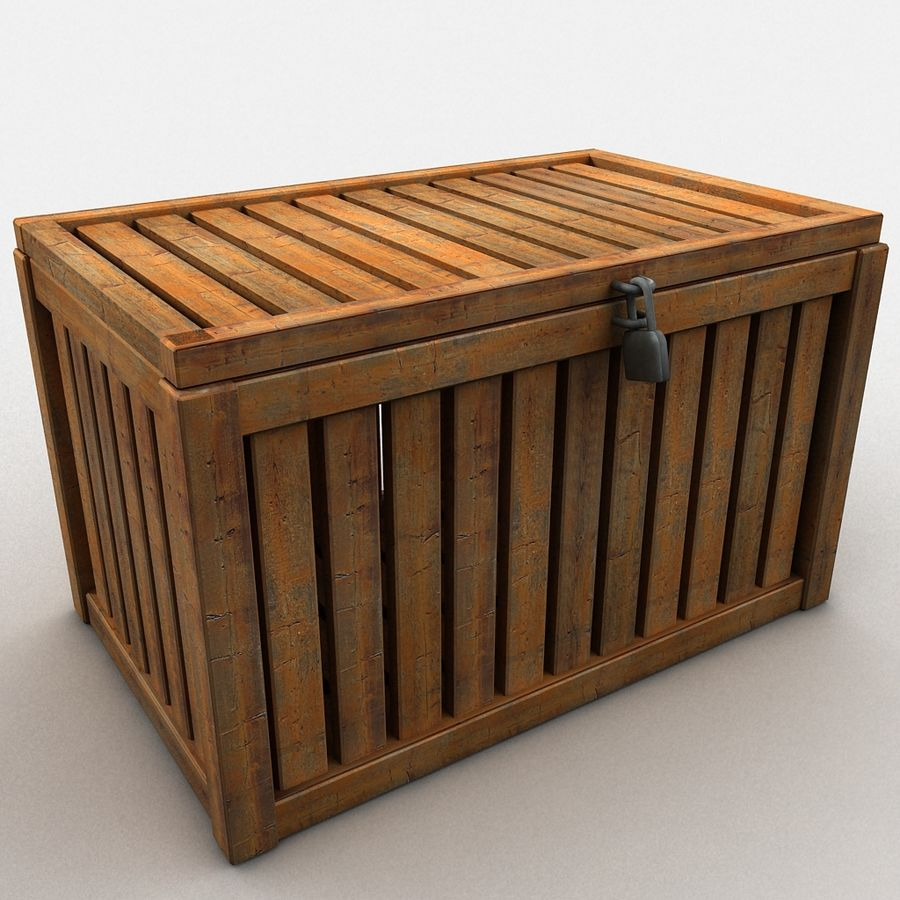 Wooden Trunk Crate Chest royalty-free 3d model - Preview no. 7