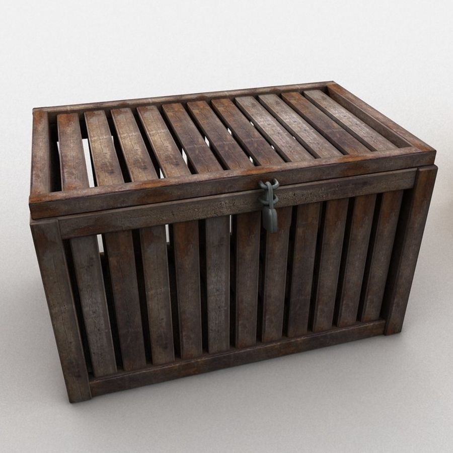 Wooden Trunk Crate Chest royalty-free 3d model - Preview no. 6