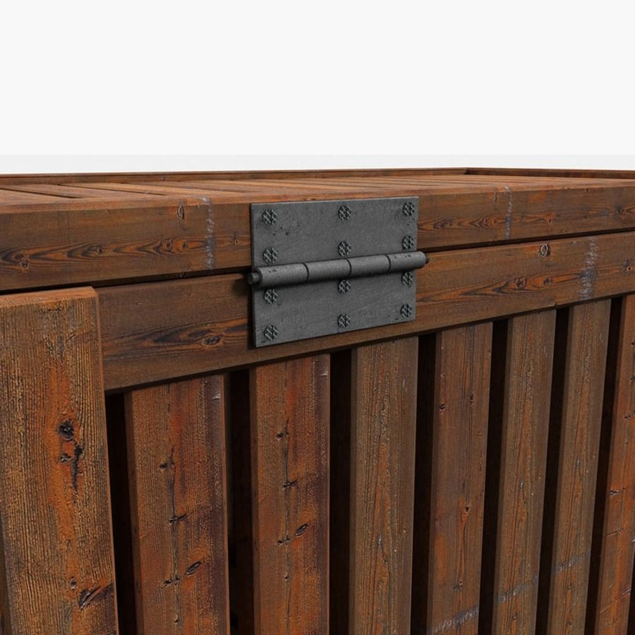 Wooden Trunk Crate Chest royalty-free 3d model - Preview no. 12