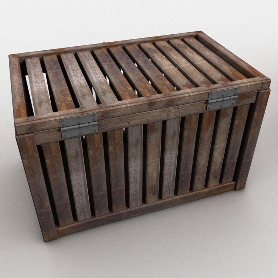 Wooden Trunk Crate Chest royalty-free 3d model - Preview no. 10