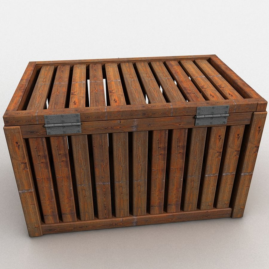 Wooden Trunk Crate Chest royalty-free 3d model - Preview no. 11
