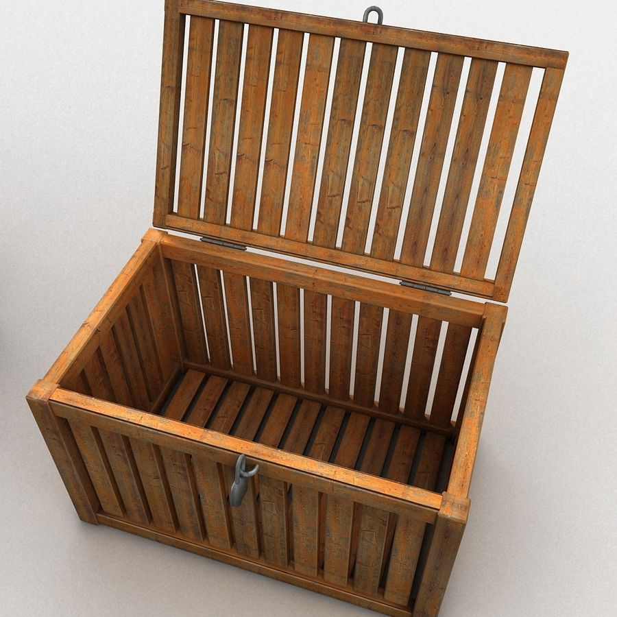 Wooden Trunk Crate Chest royalty-free 3d model - Preview no. 19