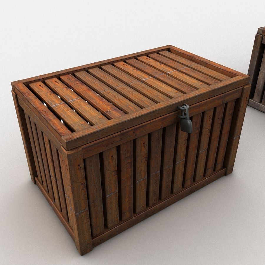 Wooden Trunk Crate Chest royalty-free 3d model - Preview no. 5