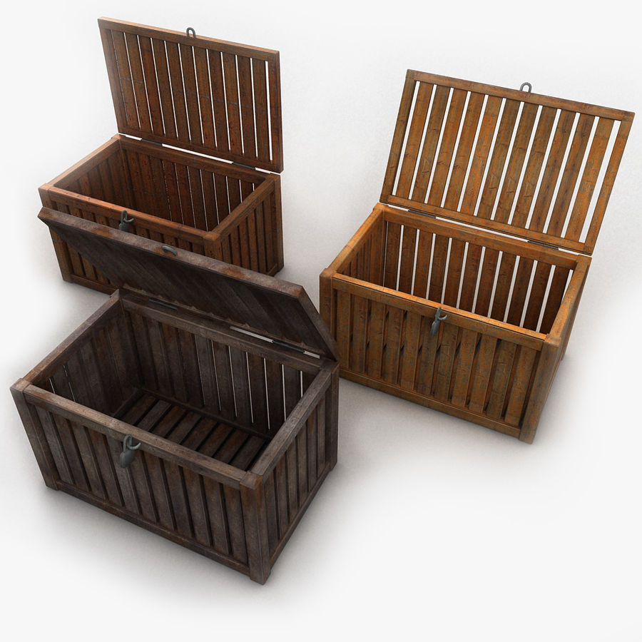 Wooden Trunk Crate Chest royalty-free 3d model - Preview no. 3