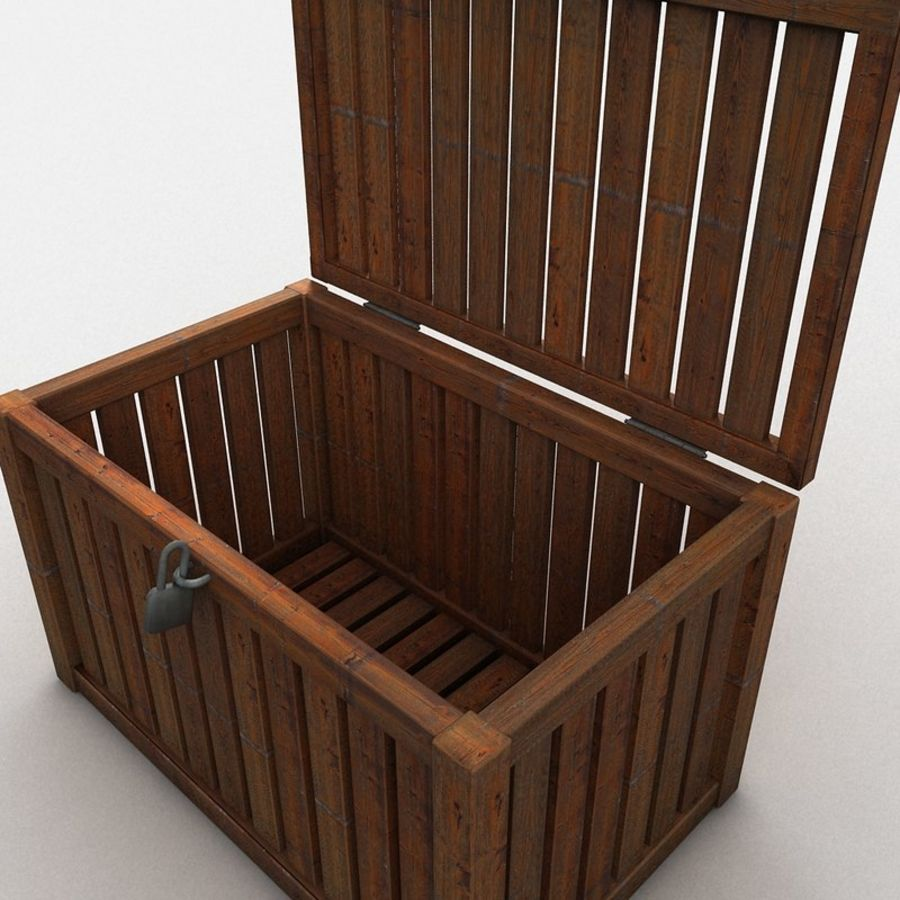 Wooden Trunk Crate Chest royalty-free 3d model - Preview no. 16