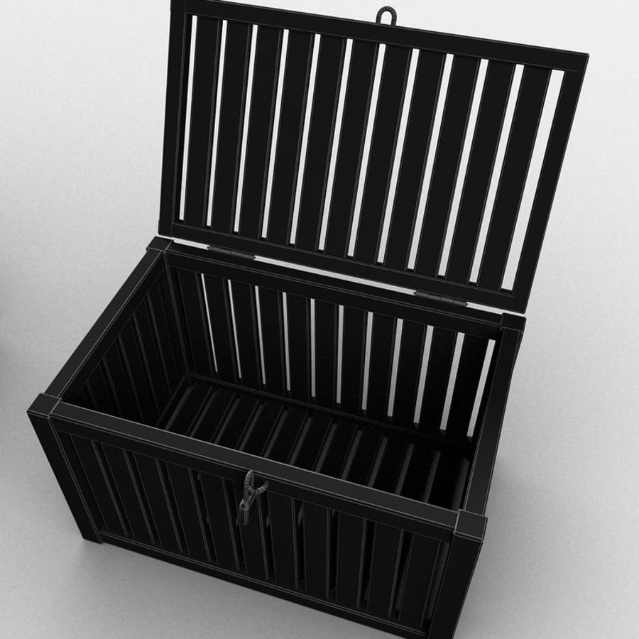 Wooden Trunk Crate Chest royalty-free 3d model - Preview no. 31