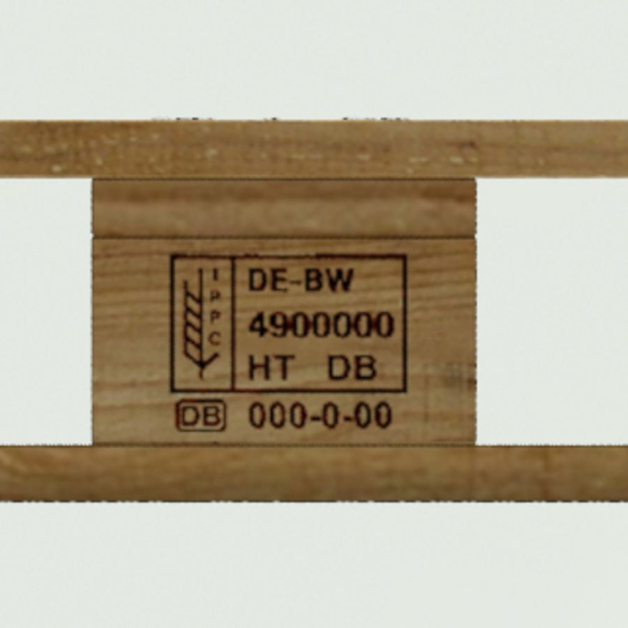 Europool wood pallet royalty-free 3d model - Preview no. 5