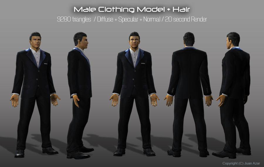3d модель - мужское нижнее белье и костюм royalty-free 3d model - Preview no. 6
