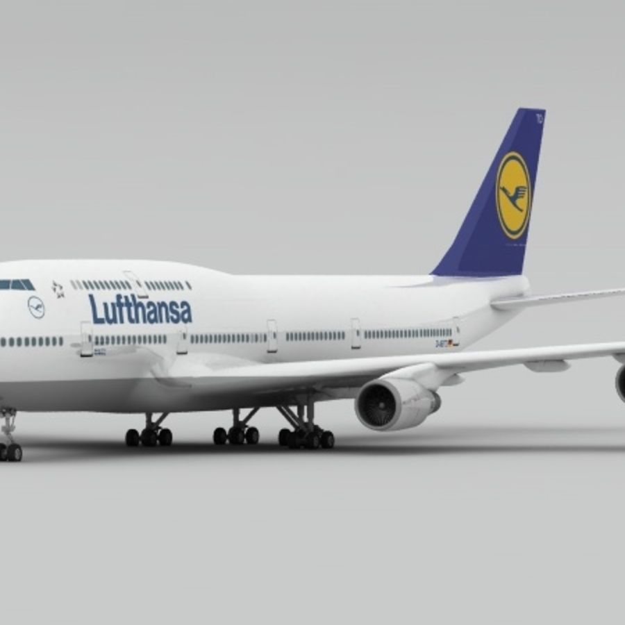 Boeing 747 Lufthansa royalty-free 3d model - Preview no. 2