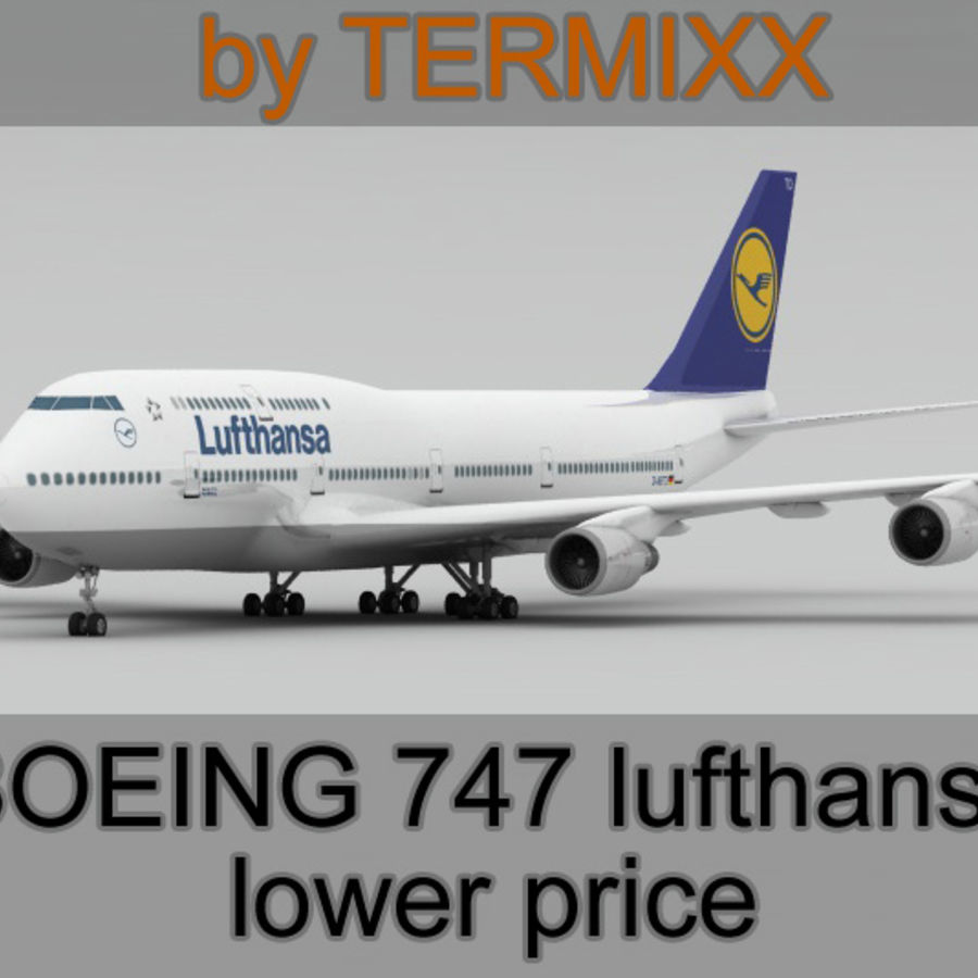 Boeing 747 Lufthansa royalty-free 3d model - Preview no. 1