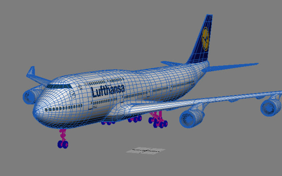 Boeing 747 Lufthansa royalty-free 3d model - Preview no. 7