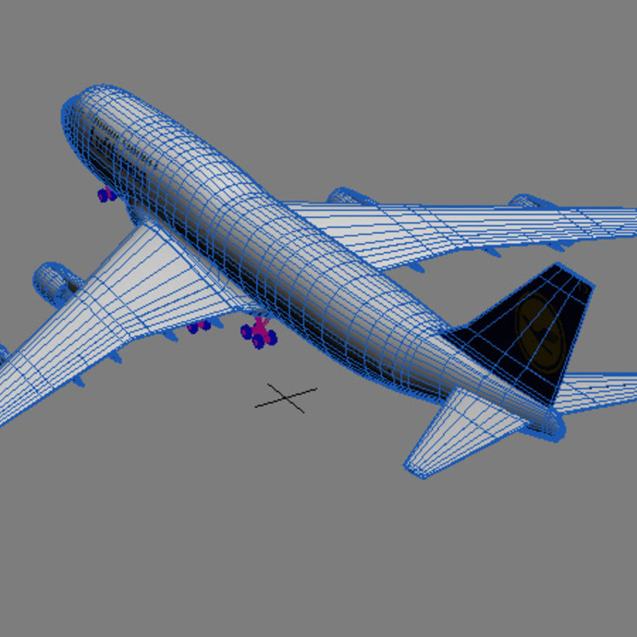 Boeing 747 Lufthansa royalty-free 3d model - Preview no. 8