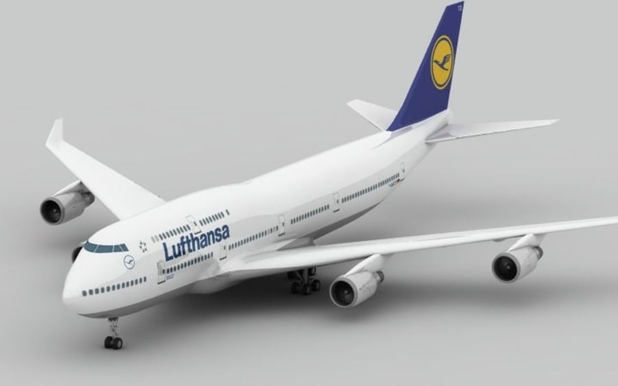 Boeing 747 Lufthansa royalty-free 3d model - Preview no. 6