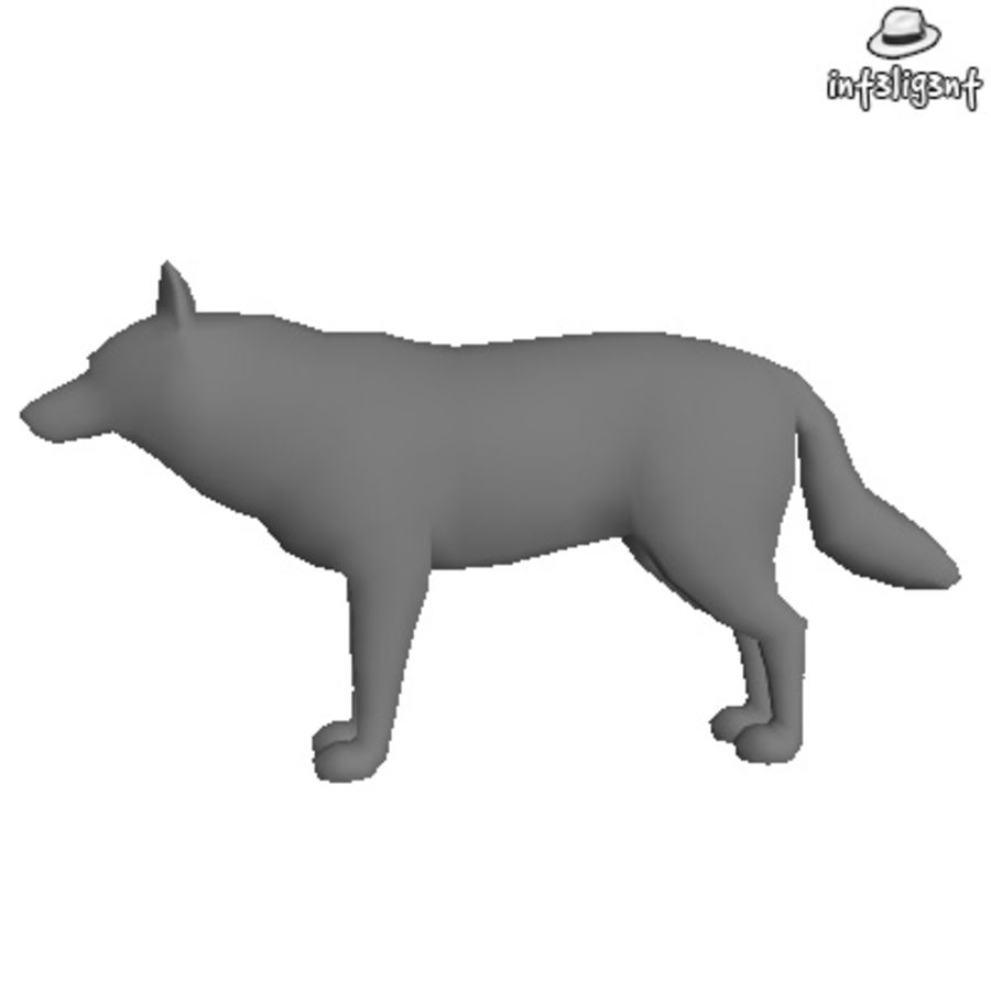 Low Poly Wolf royalty-free 3d model - Preview no. 2